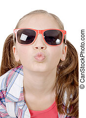 Portrait of a lovely little girl with sunglasses