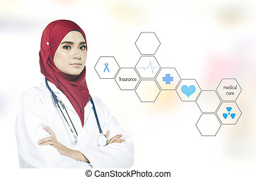 Portrait of a lovely practitioner doctor standing and smile over abstract background