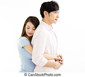 portrait of a loving young couple embracing