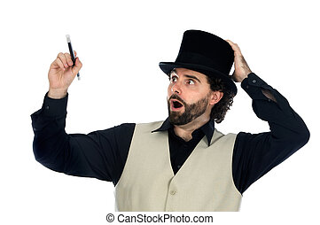 portrait of a magician with his barite drawing something