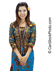 Malay woman - Portrait of a Malay woman on white background