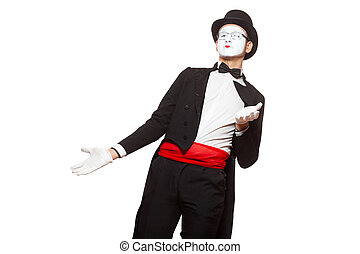 Portrait of a male mime artist performing, isolated on white background. Symbol of misunderstanding, wondering, bewilderment, confusion