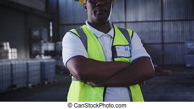 Portrait of a male warehouse worker 4k