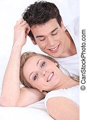 Portrait of a man admiring his girlfriend