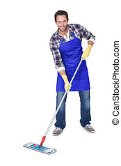 Portrait of a man cleaning floor