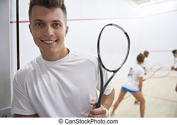 Portrait of a man during the squash game