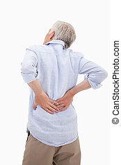 Portrait of a man having a back pain against a white ...