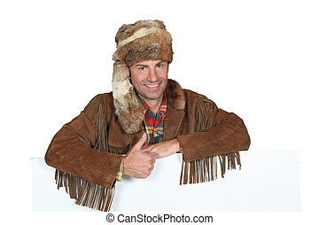 portrait of a man in trapper costume