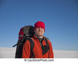 Portrait of a man in winter.