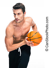 Portrait of a man playing in basketball