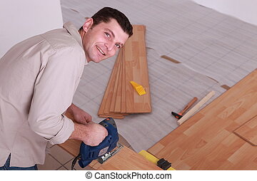 portrait of a man sawing