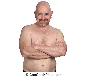 portrait of a man shirtless on white background