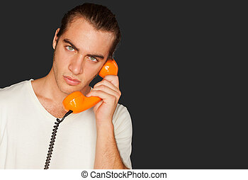 Portrait Of A Man Talking On Telephone