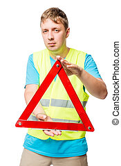 Portrait of a man with an emergency stop sign on a white background