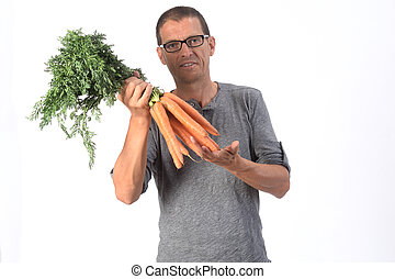 portrait of a man with carrot on white background