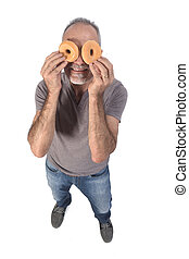 portrait of a man with donut on white background