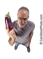 portrait of a man with eggplant on white background
