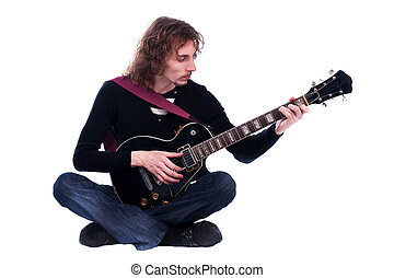 Portrait of a man with guitar enjoy the music