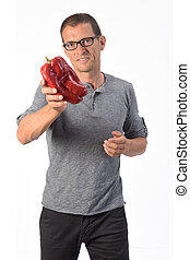 portrait of a man with pepper white background
