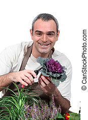 portrait of a man with plants