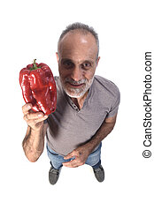 portrait of a man with red pepper on white background