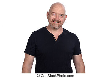 portrait of a man with t-shirt on white background