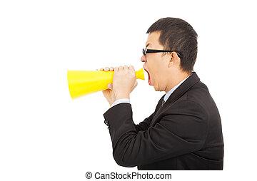 portrait of a man yelling Into A Megaphone