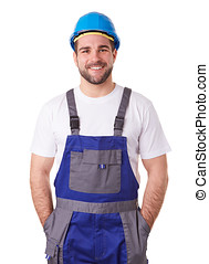 Portrait of a manual worker with blue helmet and uniform