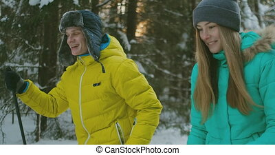 Portrait of a married couple. A man in a yellow jacket and a...
