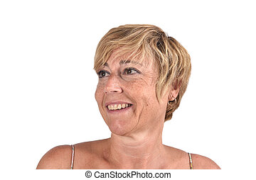portrait of a middle aged woman on white
