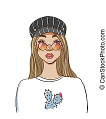 Portrait of a modern fashionable hipster girl in round glasses and a cap. Color sketch of a beautiful woman with long hair. Fashion vector illustration isolated on white background
