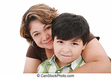 portrait of a mom with her son on a white