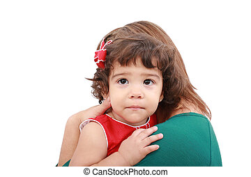 Portrait of a mother hugging her daughter, isolated over white