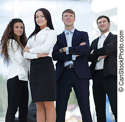 portrait of a motivated business team