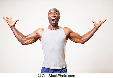 Portrait of a muscular man shouting