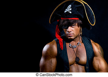 Portrait of a muscular pirate