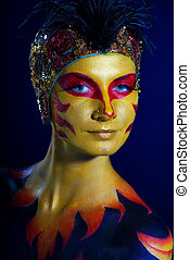 Portrait of a mysterious woman with artistic make-up on her body
