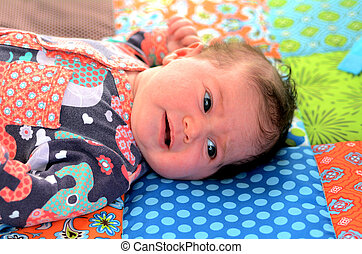 Newborn baby awake