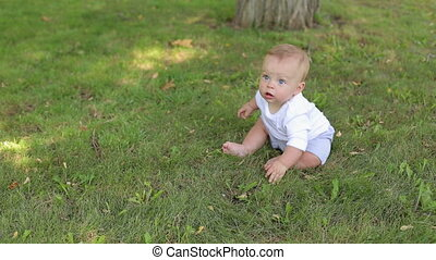Portrait of a newborn baby in the park in the summer, he sits on the green grass