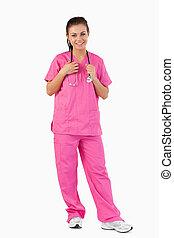 Portrait of a nurse against a white background
