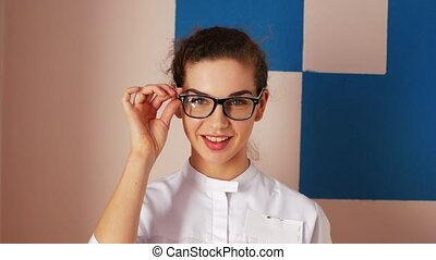 Portrait of a nurse. Young woman doctor.