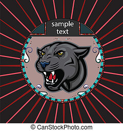 Portrait of a panther in a circle
