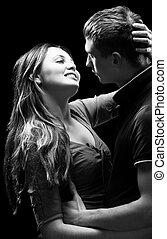 Portrait of a passionate couple - Monochrome studio portrait...