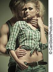 portrait of a passionate young fashion couple