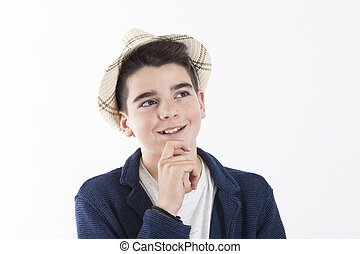 portrait of a pensive boy isolated on white background