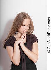 portrait of a pensive girl