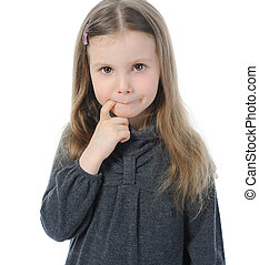 Portrait of a pensive little beautiful girl