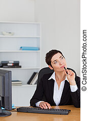 Portrait of a pensive secretary