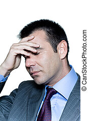 Portrait of a pensive worried businessman with eyes closed -...