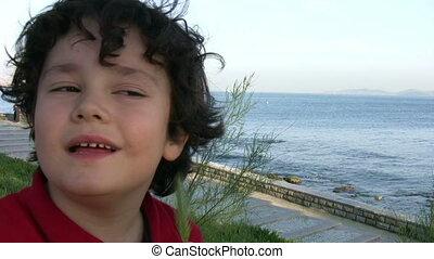 Portrait of a playful little boy